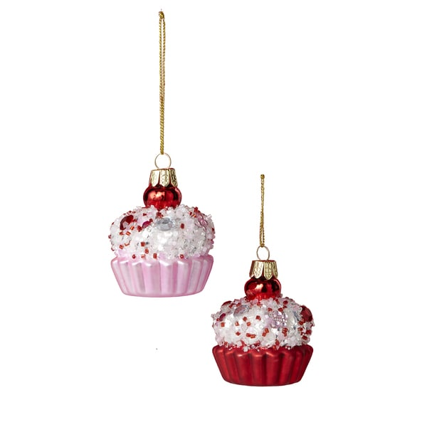 Sage & Co Sage & Co. 2.5-inch Red/ Pink Glass Cake Ornaments (Pack of 12)