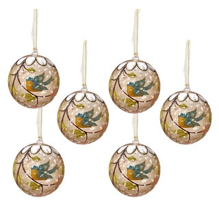 Sage & Co Sage & Co. 4.75-inch Hand-painted Bird and Blossom Ornaments (Set of 6)