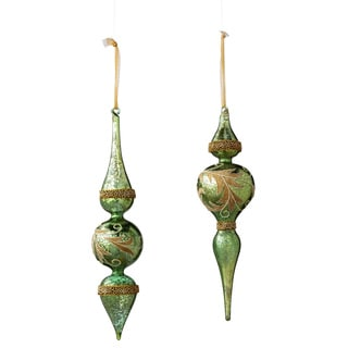 Sage & Co Sage & Co. 13-inch Glass Acanthus Pattern Finial Christmas Ornaments (Set of 2)