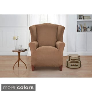 Basketweave Wingback Chair Slipcover