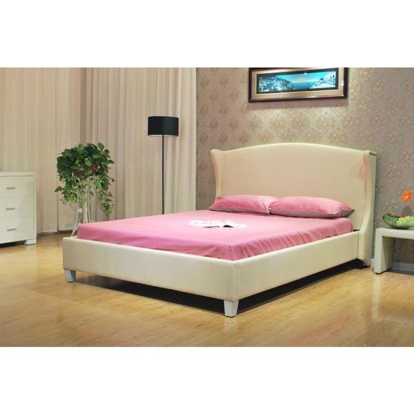 Eastern King Cream Fabric Platform Bed