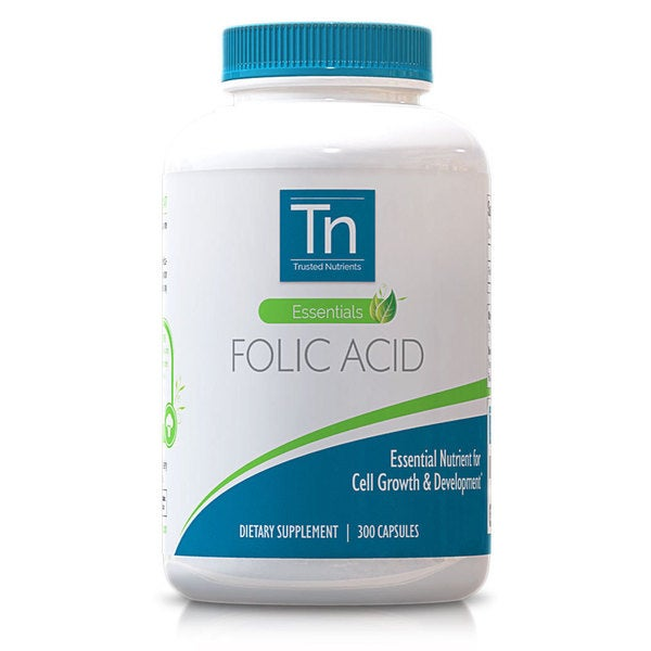 Trusted Nutrients 800mcg Folic Acid Cupsules 300 Count