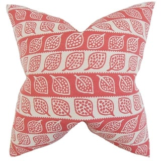 Ottilie Foliage 18-inch Red Feather-filled Throw Pillow