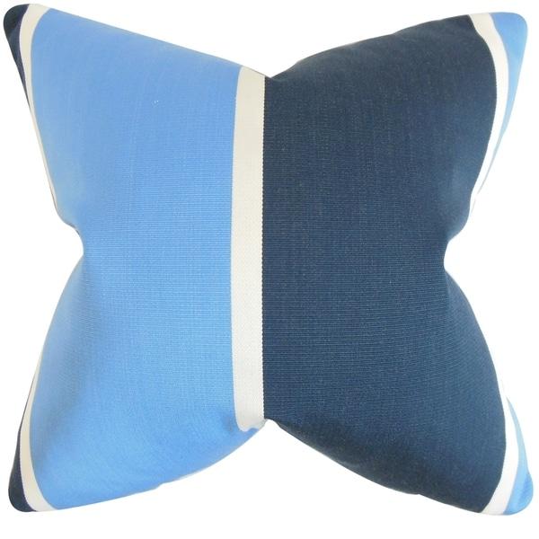 Neima Blue Stripes Feather-filled Throw Pillow