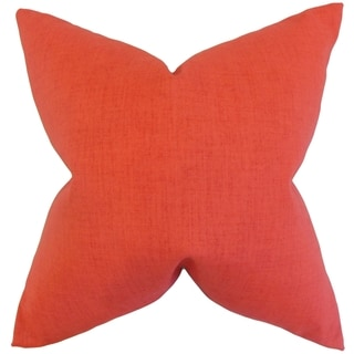 Leda Solid Orange 18-inch Feather-filled Throw Pillow