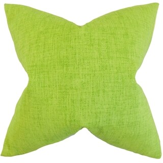 Leda Solid Lime Feather-filled Throw Pillow