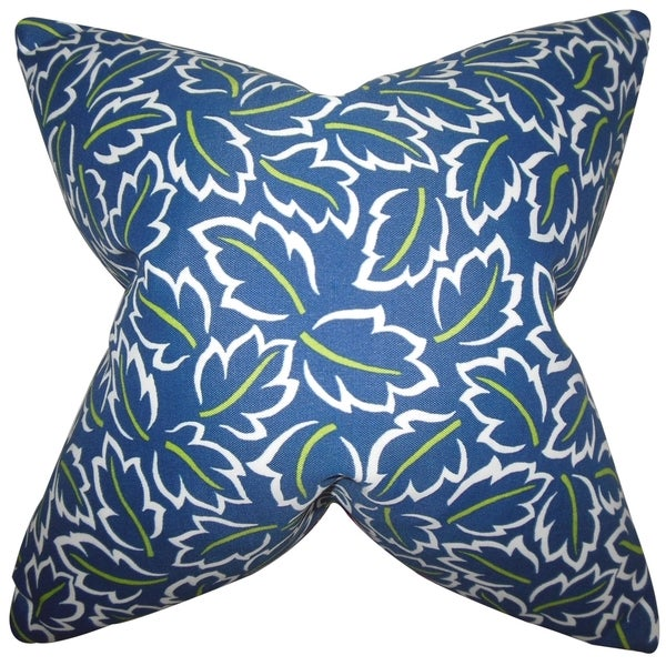 Kateri Foliage Blue Feather-filled Throw Pillow