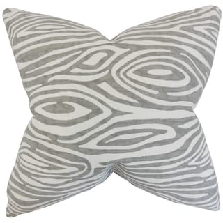 Thirza Swirls 18-inch Grey Feather-filled Throw Pillow