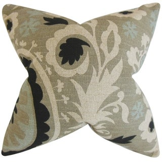 Wella Floral 18-inch Stone Feather-filled Throw Pillow