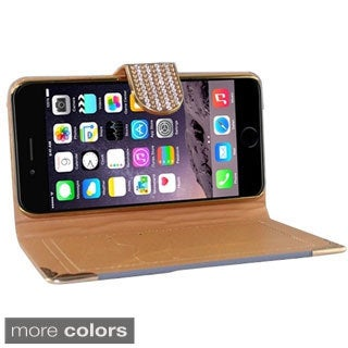 INSTEN Deluxe Diamond Wallet Flap Pouch with Card Slot For Apple iPhone 6 Plus