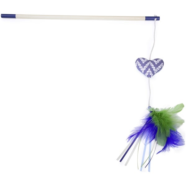 Kathy Ireland Loved Ones Catnip Heart Feather Bloom Cat Wand-Blue