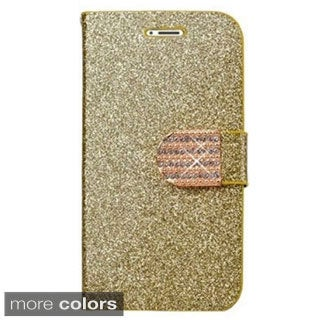 INSTEN Shiny Leather Bling Flip Wallet Credit Card Cover Case For iPhone 6 Plus