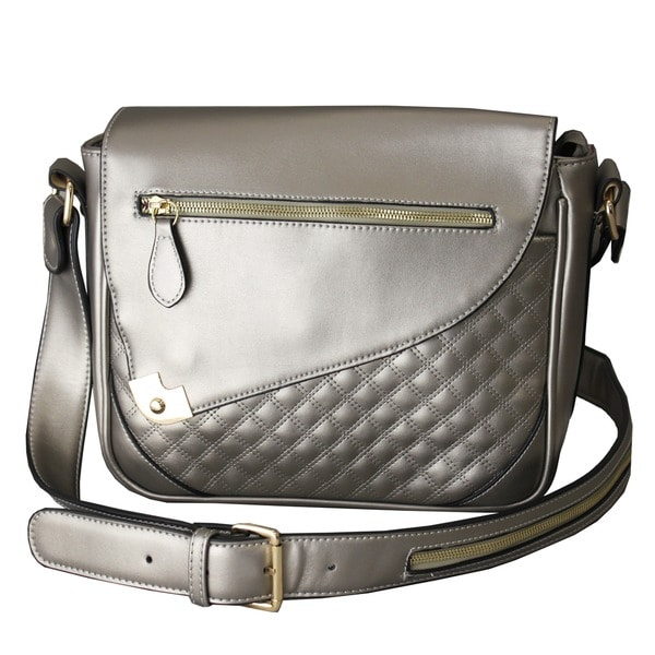 Hang Accessories Metallic Silver iPad Crossbody Bag