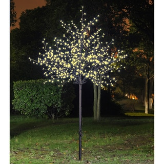 Lightshare 8-foot 600-light Warm White LED Cherry Blossom City Tree with Free 70-light LED Solar Decoration Light
