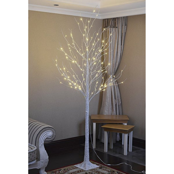 Lightshare 8 Foot 132l Warm White Led Birch Tree With Free