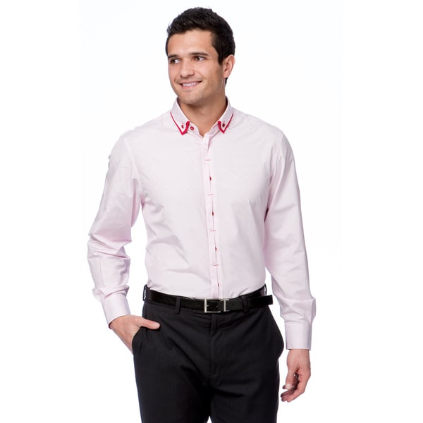 Brio Milano Men's Pink Pink/ White Mini Chekered Button Down Fashion Shirt