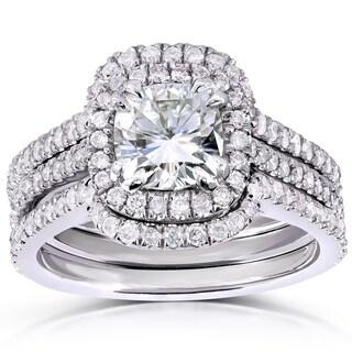 Annello 14k White Gold Cushion-cut Moissanite and 3/4ct TDW Diamond Bridal Ring Set (G-H, I1-I2)