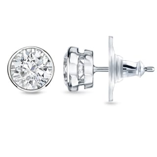 New Auriya 14k Gold 1 2/5ct TDW Bezel Diamond Stud Earrings (H-I, SI1-SI2)