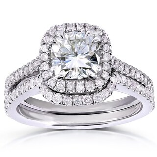 Annello 14k White Gold Cushion-cut Moissanite and 1/2ct TDW Diamond Bridal Ring Set (G-H, I1-I2)