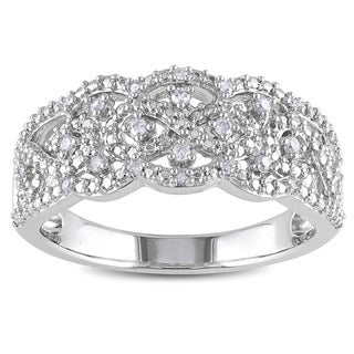 Haylee Jewels Sterling Silver 1/10ct TDW Diamond Ring (H-I, I2-I3)