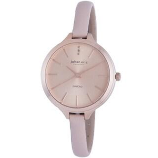 Johan Eric Women's Herlev Slim Analog Display Genuine Beige Leather Diamond Watch
