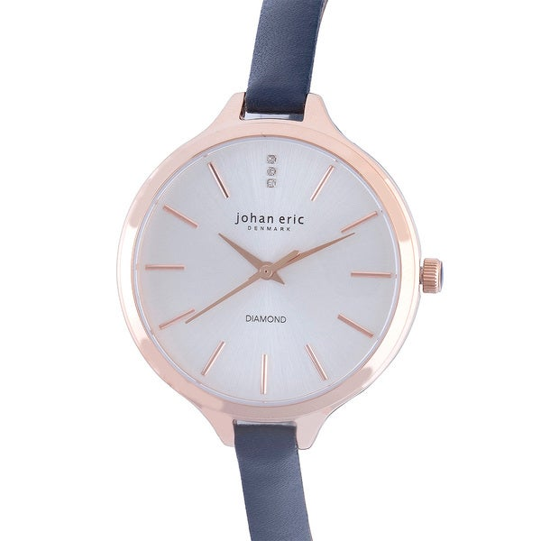 Johan Eric Women's Herlev Slim Analog Display Genuine Blue Leather Diamond Watch