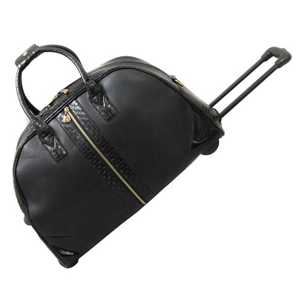 Hang Accessories Black Textured Braid Weekender Rolling Upright Duffel Bag