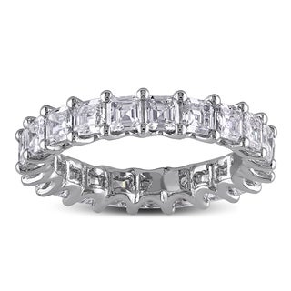 Miadora Signature Collection 14k White Gold 3ct TDW Asscher Cut Diamond Eternity Ring (G-H, VS1-VS2)