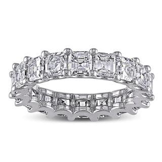 Miadora Signature Collection 18k White Gold 5ct TDW Certified Asscher Cut Diamond Eternity Ring (F-G,VS2-SI1) (IGI)