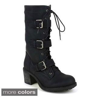 Fahrenheit Women's 'Nancy-05' Mid-calf Combat Boots