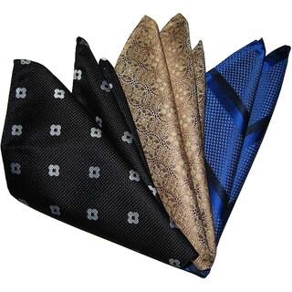 Dmitry Men's Black/ Beige/ Blue Italian Silk Pocket Squares (Pack of 3)
