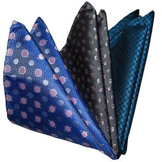 Dmitry Men's Blue/ Grey/ Teal Italian Silk Pocket Squares (Pack of 3)