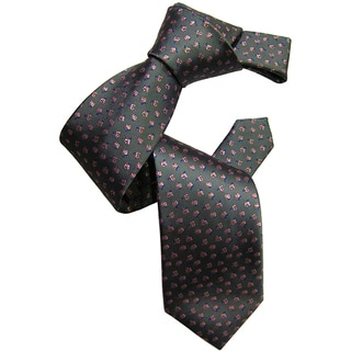 Dmitry Men's Grey Patterned Italian Silk Tie