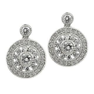 Sterling Silver Cubic Zirconia Vintage Round Bridal Earrings