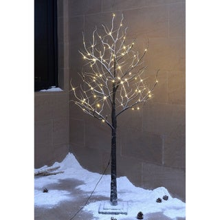 Lightshare 5.5-foot 96L Warm White LED Snow Tree with Free 10L LED Snow Flake Decoration Light