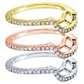 Annello 14k White Gold 1/4ct TDW Curved Diamond Wedding Band (G-H, I1-I2)