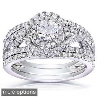 Annello 14k White or Two Tone Gold 1 1/6ct TDW Round Cut Diamond 3-piece Bridal Ring Set (H-I, I1-I2)
