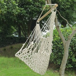 Adeco Two-Person Woven Rope Hammock Chair, Natural Color