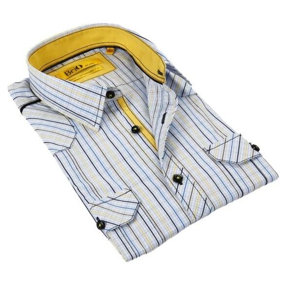 Brio Milano Men's Navy Navy/ Yellow/ Brown/ Blue Plaid Button Down Fashion Shirt