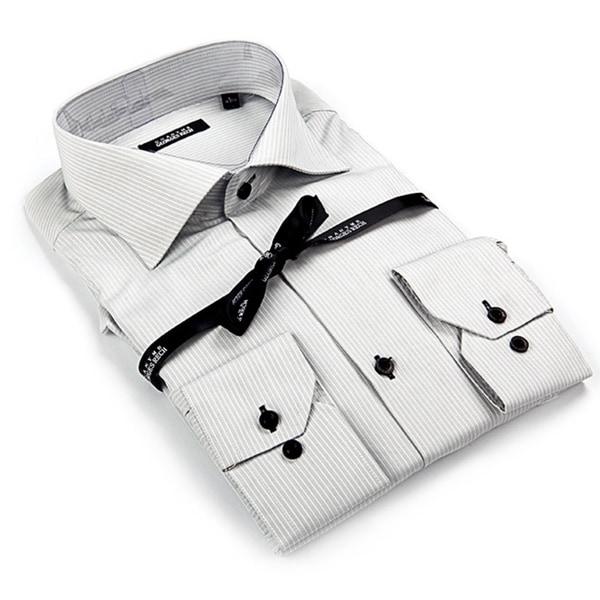 George Rech Men's Grey / White Striped Button Down Fashion Shirt