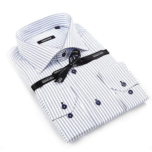 George Rech Men's White Button Down Fashion Shirt