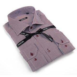 George Rech Men's Red / White Striped Button Down Fashion Shirt