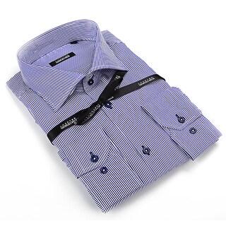 George Rech Men's White / Purple Striped Button Down Fashion Shirt
