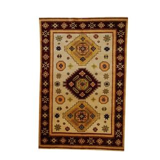 Herat Oriental Indo Hand-knotted Tribal Kazak Ivory/ Burgundy Wool Rug (5'8 x 8')