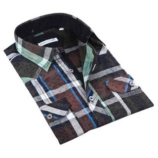 John Lennon Men's Brown and Green Long sleeve Sport Shirt