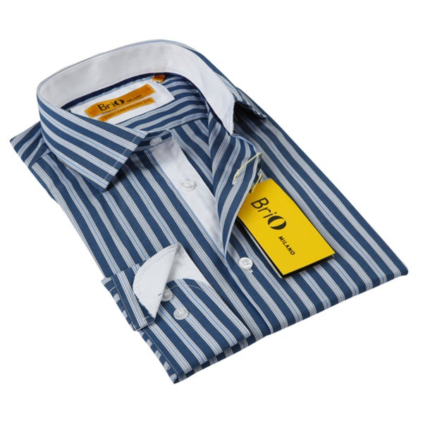 BriO Milano Men's White with Floral Collar Blue/ White Striped Button Down Dress Shirt