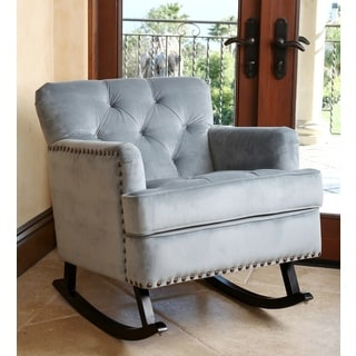 ABBYSON LIVING Clara Teal Blue Velvet Nailhead Trim Rocker