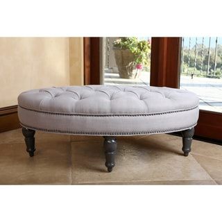 ABBYSON LIVING Felton Steel Blue Tufted Linen Nailhead Trim Oval Ottoman