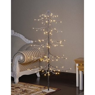 Lightshare 5-foot Warm White LED Fir Snow-covered Decorative Tree with LED Treetop Star