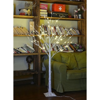 Lightshare 4-foot 48-light Warm White LED Birch Tree with Free Gift:10-light LED Icicle Twinkling White/ Blue Decoration Light